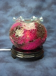 Fuchsia Glass Mosaic Round Cracked Glass